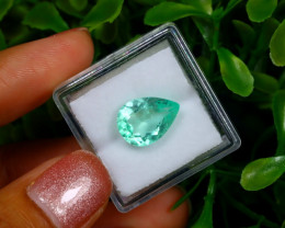 3.14Ct Colombian Muzo Emerald Neon Mint Green Beryl EM12