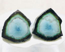 20 CT Rarest Indicolite-Tourmaline Slices Pair