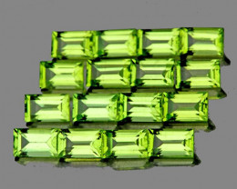 4x2 mm Baguette 30 pcs 3.69ct Green Peridot [VVS]