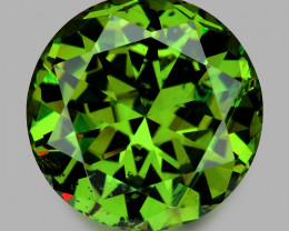 Rare, high gem quality custom precision round brilliant cut demantoid garne