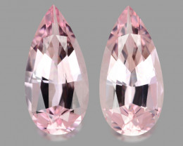 Custom precision pear cuts natural pink morganites.