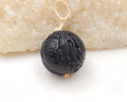 68cts Obsidian, Obsidian Sphere, Gemstone Carved Beads, H1982