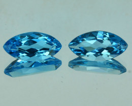 ~PAIR~3.51 Cts Natural Baby Blue Topaz  11 X 6mm Marquise  Cut Brazil