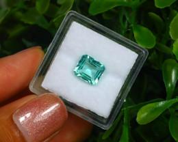 1.68Ct Octagon Cut Colombian Muzo Emerald Neon Mint Green Beryl B2101