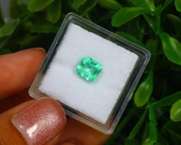 0.88Ct Octagon Cut Colombian Muzo Emerald Neon Mint Green Beryl B2113