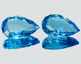 22.67 Cts Natural Swiss Blue Topaz Pear Collection Gem