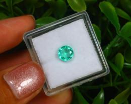 0.79Ct Round Cut Colombian Muzo Emerald Neon Mint Green Beryl B2131