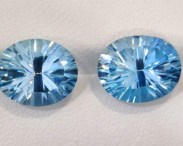 12.00 CTS INVESTMENT GEM~VIP SWISS BLUE TOPAZ LASER CUT