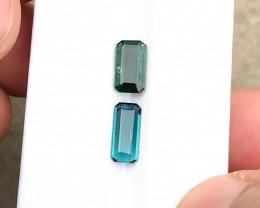 2.40 Ct Natural Dark Blue & Green Transparent Tourmaline Gemstones Parcels