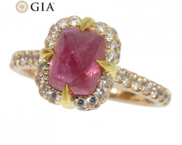 2.14ct Sugar Loaf Ruby & 0.50ct Diamond Ring in 18kt Pink & Yellow Gold GIA