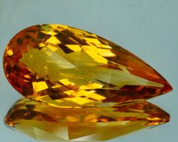 ~CUSTOM CUT~ 15.25 Cts Natural Golden Orange Citrine Fancy Pear checker boa