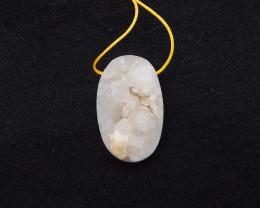 69cts      Drusy Prehnite Crystal Mineral Specimen Pendant, Quartz Specimen