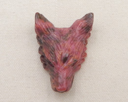261cts hand carved wolf pendant ,african turquoise wolf ,red pattern wolf h