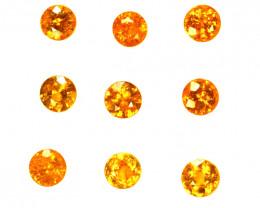 2.20 Cts Natural Fanta Orange Spessartite Garnet 3.5mm Round 9Pcs Namibia