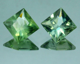 2.78 Cts Natural Green Apatite 7mm Square 2Pcs PAIR Brazil
