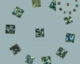1.23 Cts Natural Color Change Sapphire  2.5mm Princess Cut 11Pcs Parcel