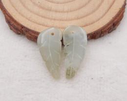 12.5 nephrite Jade,carved handmade jade, leaf-shaped pendant h2011