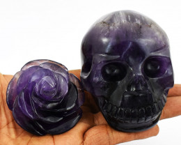 Big Genuine Exclusive Amethyst Skull & Rose  Set