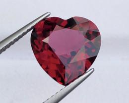 ~No Reserve~ Attractive Rhodolite Garnet Heart Shape Top Luster Faceted Gem