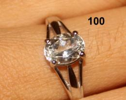Natural 925 Silver Aquamarine Ring 100