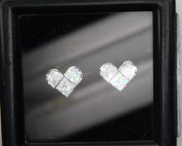 Pie Cut Heart Shape Pair 6pcs Set F VVS Loose Natural White Diamonds