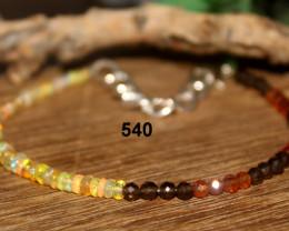 Natural Ethiopian Opal, Garnet & Smokey Beads Bracelet 540