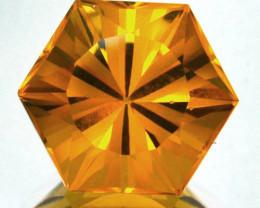 ~CUSTOM CUT~ 5.40 Cts Natural Golden Orange Citrine Fancy Hexagon Brazil