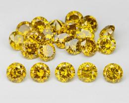*No Reserve* Diamond 1.30 Cts 22pcs Sparkling Rare Fancy Intense Yellow Col