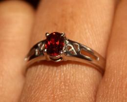 Natural 925 Silver Garnet Ring 107