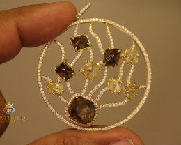 Diamond crystals and accents mounted in Gold