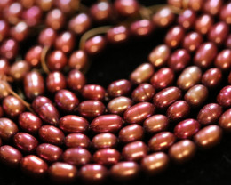 170 cts Set of 3 Electric Pink Oval luster Pearl strand. GOGO 1294