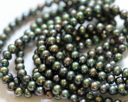 230cts Set of 3 Rainbow Pistachio Semi Round luster Pearl strand. GOGO 1316