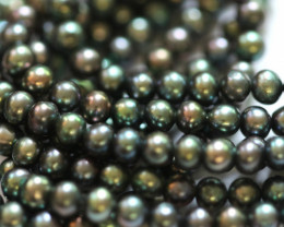 230cts Set of 3 Rainbow Pistachio Semi Round luster Pearl strand. GOGO 1319