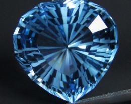 21.21Cts Sparkling Natural Baby Swiss Blue Topaz Heart Shape Loose Gem VEDI
