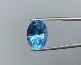 Blue Topaz with laser cut beautiful & nice color 16.55 cts.