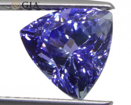 2.7ct Triangular/Trillion Violet-Blue Tanzanite GIA Certified