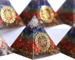 WHOLESALE 6 Seven Chakra Gemstone 6 cm Orgonite Pyramid AHA 553