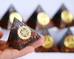 WHOLESALE 6 Seven Chakra Gemstone 4 cm Orgonite Pyramid AHA 559
