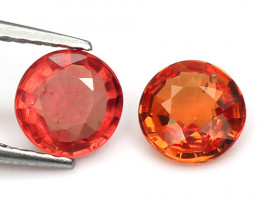 *NoReserve*Sapphire 1.31 Cts 2Pcs Rare Natural Fancy Orange Red Gemstone