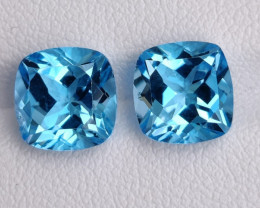 7.40 CTS NATURAL  SWISS BLUE-TOPAZ GENUINE 2 PCS
