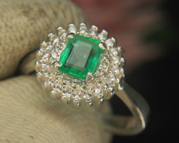 Afghani Panjshar Emerald with White zircon Ring in  925 Silver