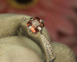 Pink Tourmaline Gemstone in 925 Silver Ring With Zircon