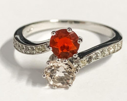 Stylish Natural Morganite Fire Opal And Topaz Ring ~ Silver