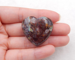 79cts green opal heart shaped bead, birthstone gemstone, green opal bead h2