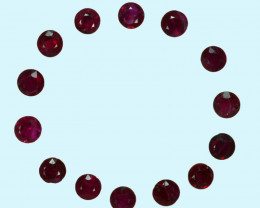 1.01 Cts Burmese Natural Ruby 2 mm Round   Red