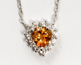 Natural Citrine And Topaz ~ Silver Necklace