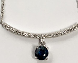 Natural Blue Sapphire  And Topaz ~ Silver Necklace
