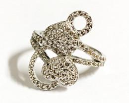Stylish Natural Topaz Ring ~ Silver