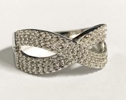 Stylish Natural Topaz  Silver Ring ~