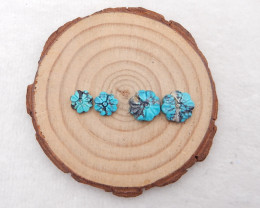 10.5cts lucky turquoise two pairs,handmade gemstone ,Carved pattern turquoi